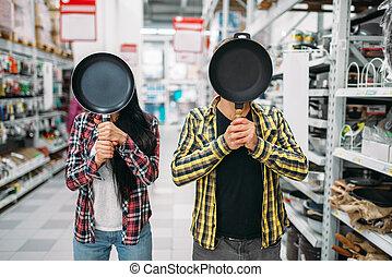 instead, hoofd, paar, supermarkt, pan