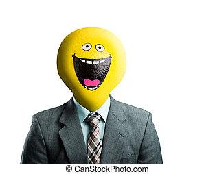 instead, hoofd, smiley, zakenman, gezicht