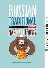 instead, walec, magia, dziki, gniewny, trick., styl, niedźwiedź, ruski, zabawa, hohloma, królik, hat., russia., animal., agresywny, magik, krajowy, oblezieni, poza