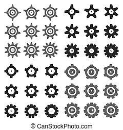 instellingen, tandwiel, symbool, pictogram, toestellen, ...