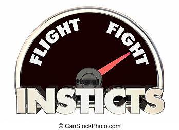 instintos, pelea, vuelo, o, comportamiento, reacción, ...
