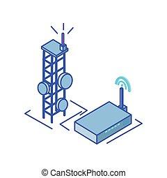 instradatore, fili, torre, fondo, telecomunicazioni, bianco