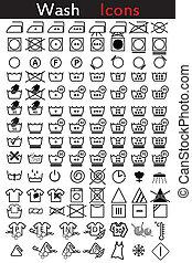instrucción, lavado, iconos