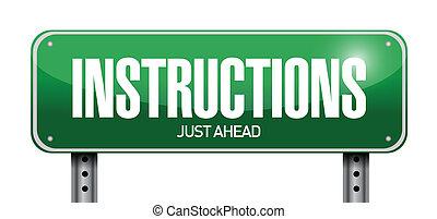 instrucciones, diseño, camino, ilustración, señal