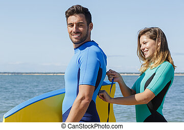 instructeur, plage, débutant, surfeur