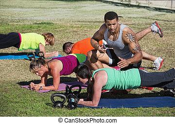 instructeur, synchronisation, fitness, étudiants