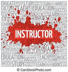 instructeur, woord, wolk, opleiding, concept