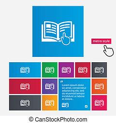 instructie, meldingsbord, icon., handleiding, boek, symbool.