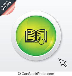 instructiehandboek, symbool., meldingsbord, boek, icon.