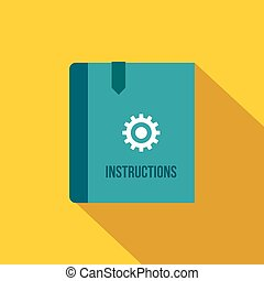 Instruction book icon, flat style