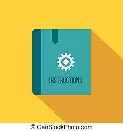 Instruction book icon, flat style