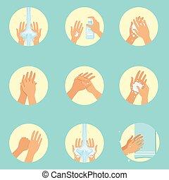 instruction, lavage, séquence, affiche, lavage main, hygiène, infographic, mains, propre, procédures