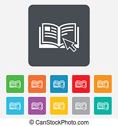 Instruction sign icon. Manual book symbol. Read before use. Rounded squares 11 buttons. Vector