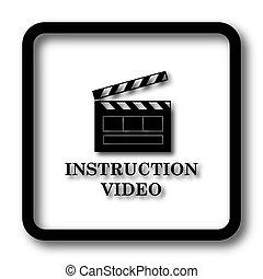 Instruction video icon, black website button on white ...