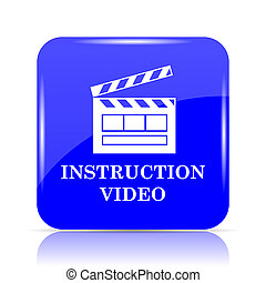 Instruction video icon, blue website button on white ...