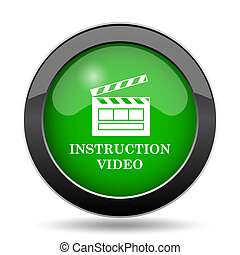 Instruction video icon, green website button on white ...