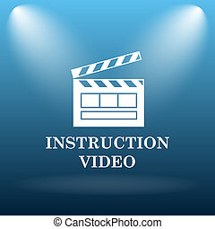 Instruction video icon. Internet button on blue background.