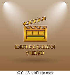 Instruction video icon. Internet button on brown background.