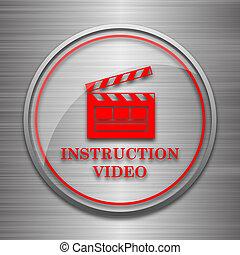 Instruction video icon. Internet button on metallic ...
