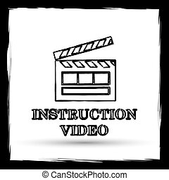 Instruction video icon. Internet button on white background...