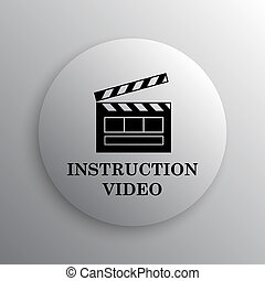 Instruction video icon. Internet button on white background.