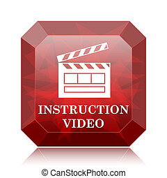 Instruction video icon, red website button on white ...