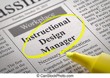Instructional Design Manager Jobs in Newspaper. -...