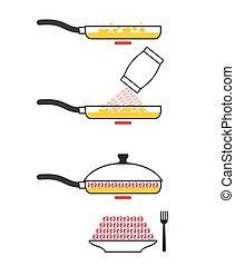 Instructions cooking fried shrimp. Pan fry seafood. Manual prescription food. Vector illustration