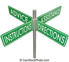 Instructions Directions Advice Assistance Four 4 Way...
