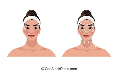 Instructions for face and neck massage, face building, ...