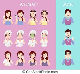 Instructions to wash face of woman and man. Boy washes his...