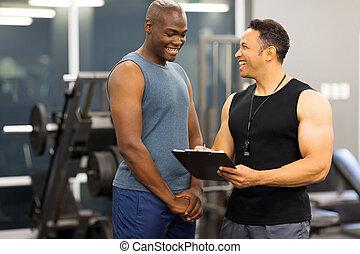 instructor, explicar, calidad de miembro, cliente, forma