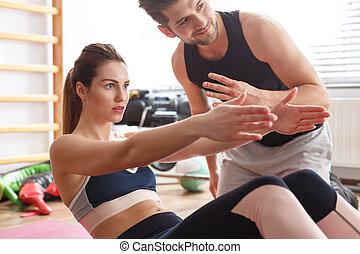 instructor, mujer, condición física