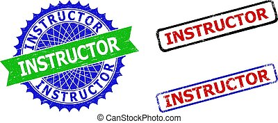 INSTRUCTOR Rosette and Rectangle Bicolor Seals with Corroded Surfaces