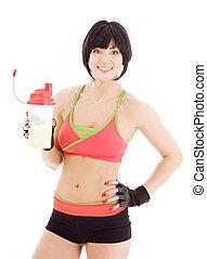 instructor salud, con, batido de proteina