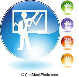 Instructor Teaching Crystal Icon - Instructor teaching...