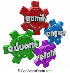 instruire, engager, gamify, étudiants, clients, jeux, retenir