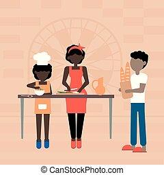 instruire, père, leur, mère, enseignement, kid.