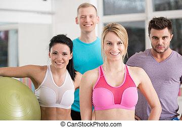 instruktører, ind, fitness klub