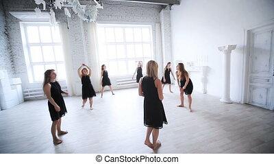 instruktor, nauczanie, taniec, team.