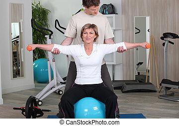 instruktor, sala gimnastyczna, kobieta