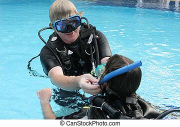 instruktor, scuba skakanie do wody