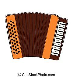 instrument, akordeon, sketch., odizolowany, muzyczny