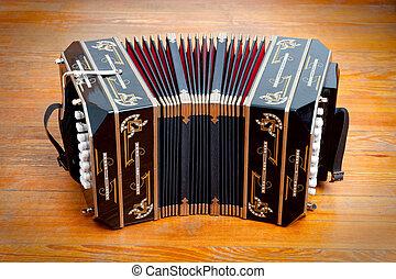 instrument, bandoneon., traditionell, musikalisk, kallat, tango