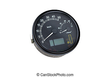 instrument cluster of the tractor on isolated white...
