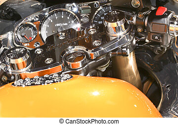 instrument cluster - detail of chrome instument cluster of a...