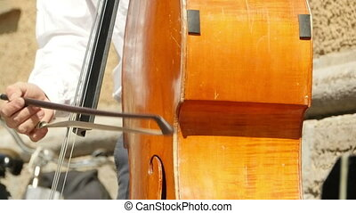 instrument, contrebasse, ficelle, musical