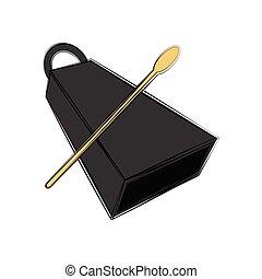 instrument, cowbell, sketch., odizolowany, muzyczny