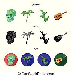 instrument, dessin animé, arbre, pays, style, symbole, mexique, crâne, ensemble, vecteur, vert, national, plat, mexicain, stockage, guitare, web., icônes, paume, image, noir, illustration, cactus, spines., collection