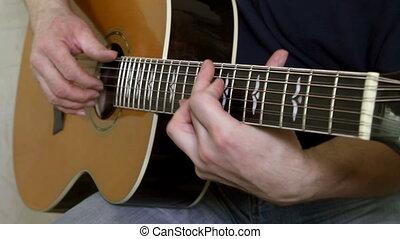 instrument, guitariste, mains